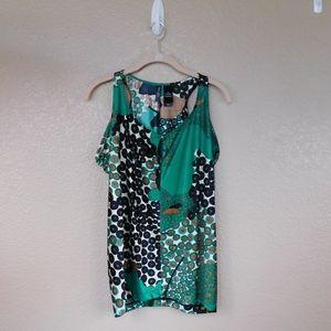 Bisou Bisou Green/Multi Print Sleeveless Top